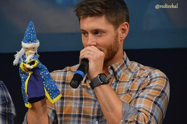 Jensen Ackles - #jibcon Jensen, after initial resistance, seemed to bond very well with his puppet T
