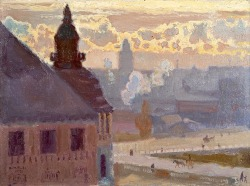 blastedheath:  bofransson Antti Favén (Finnish, 1882-1948), Morning in Helsinki, 1920. Oil on board, 24 x 33 cm.