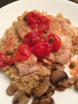 Garlic & Brown Sugar Chicken with quinoa, tomato-caper relish and 'shrooms. #homemade To make the chicken: Mix 4 cloves of chopped garlic and 2 tbsp. brown sugar and coat over 4 chicken breasts. Bake at 400 degrees for 20 mins. To make the relish: Combine 1/2 cup cherry tomatoes, 1 tbsp capers, 1 tbsp vinegar, 1tsp. suagr. Microwave for one minute. ~LC
