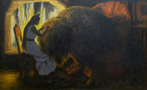Theodor Kittelsen - The Princess Picking Lice from the Troll, 1900