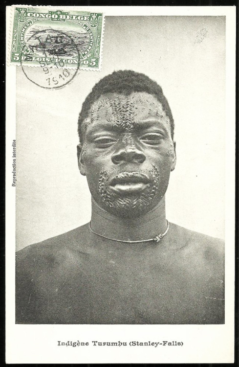 grand-bazaar:  1910 Congo - Turumbu Man Tattoo Scarification