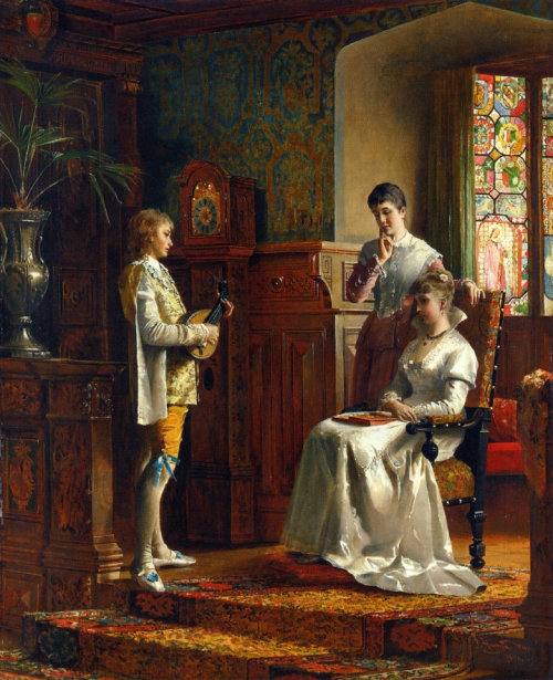 books0977:  The Recital (The Lute Player). Johann Hamza (Austrian, 1850-1927). Oil on canvas. Hamza, following his studies in Vienna, established himself as a painter of figurative genre, narrative works depicting the social life of the wealthy bourgeoisie of Vienna. Many of his works portray weddings and baptisms set in the richly decorated Rococo interiors of churches in Vienna, or social gatherings in the grand Viennese town houses.