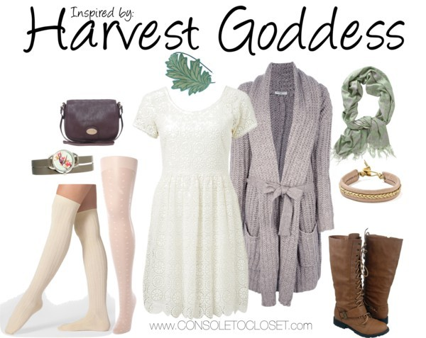 Harvest Goddess (Harvest Moon) by ladysnip3r     Forever New - Lainey Lace Dress, $120/ Farfetch - Mes Demoiselles Lucien Cardigan, $400/ American Apparel - Ribbed Over the Knee Socks, $13/ Therapy - All Over Mini Hearts Tights, $5/ Amazon - Mid-Calf Boot, $35/ Asos - Aldo Esbensen Cross Body Bag, $43/ Asos - Accessorize Double Wrap Watch, $44/ Piperlime - Sir Alistair Rai Ikat, $95/ Etsy - Oak Leaf Headband, $27/ Bracelet  This outfit is inspired by the Harvest Goddess from the Harvest Moon series. I wanted to capture her faded color palette, as well as the earthy, natural essence of her character. I chose a white lace dress paired with a chunky long cardigan. This trend is super popular right now and a great way to transition those summer dresses into colder weather. I also chose white heart printed tights paired with ribbed knee high socks and brown leather boots. To cheat the boot sock look, cut the sleeve off of an old sweater - you can then wear that under any boot, with the cuff showing, for the same look. Plus, it can be worn with higher styles of boot, like the thigh high boot that was a popular trend last winter. I wanted to bring in some of her green hair into the outfit so I chose a beautiful green leaf headband. I also chose a watch with a bird print on it that adds a hint of whimsy to the outfit.   Reference: