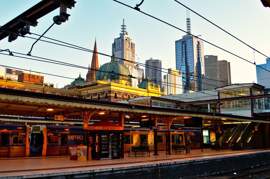 Terrific photo from Flinders Street Station in the Melbourne CBD.