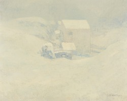 blastedheath:  John Henry Twachtman (American, 1853-1902), Snow, c. 1895. Oil on canvas, 26 x 32 in.