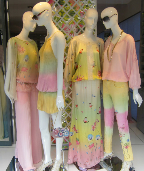 Sugary sweet ombré pastels at Blumarine. WGSN store shot, Paris