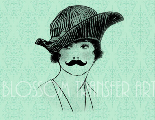 *Moustaches Woman Lady Digital Graphics by BlossomTransferArt