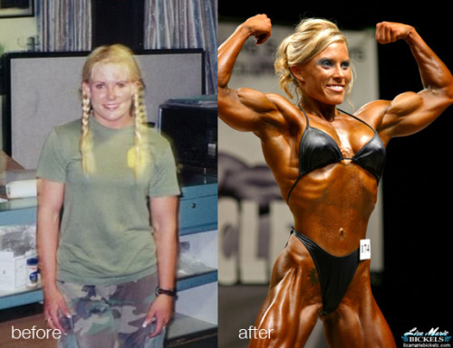 Lisa Bickels Before & After Lisa Marie Bickels spent 4 years in the Marine Corps then went on to be one of the hottest bodybuilders of the 2000's. Here's Corporal Bickels transformation from Jarhead to Muscle Goddess. Hoorah!