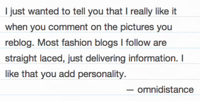 Thank you! I generally try not to muddle the gorgeous garments with too much trivialities but sometimes they're just too stunning or significant to me to hold back - I'm glad my comments are well-received!