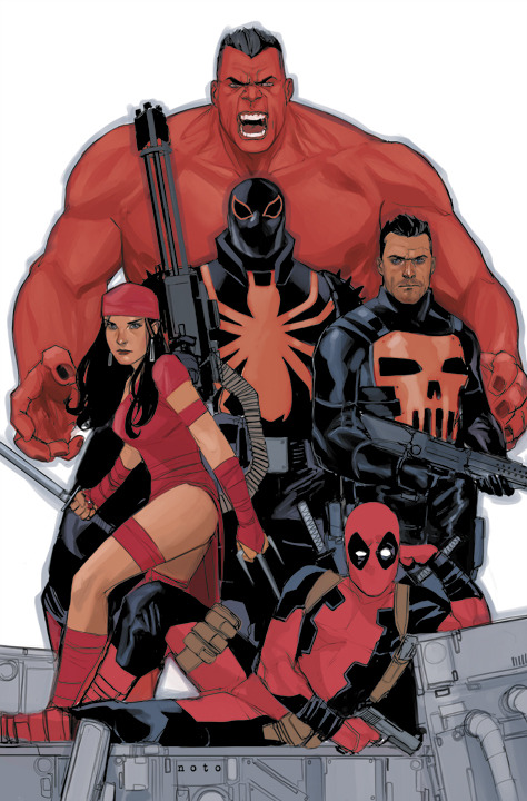 philnoto:  THUNDERBOLTS  This is the first image I drew of the Thunderbolts team. It's now going to be released as the Issue #7 variant cover.