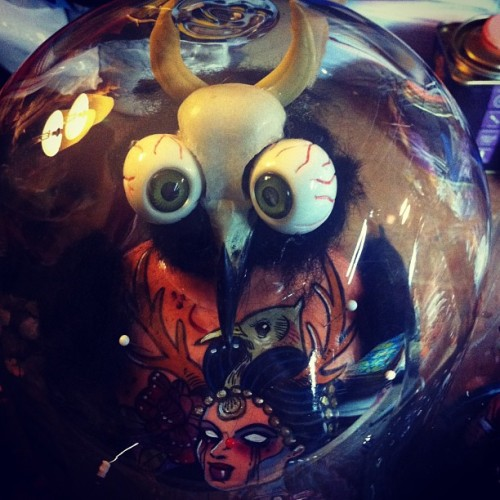 #glassglobe #thunderbird in progress. Available at #tattooworld #strasbourg this week end #voodoo #witchcraft #oddities #curios #lowbrow #tattoo #devil #eyeballs #pins #black #blackmagic #goth #gothic #darkart #dark