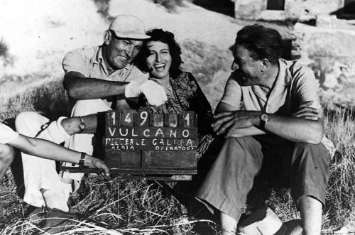 Hilarity strikes director William Dieterle, Anna Magnani and cinematographer Arturo Gallea between scenes ofVulcano