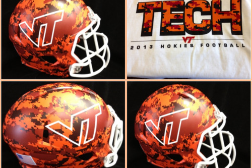 New camo helmet for Virginia Tech that will be worn for their game on September 21 against Marshall.