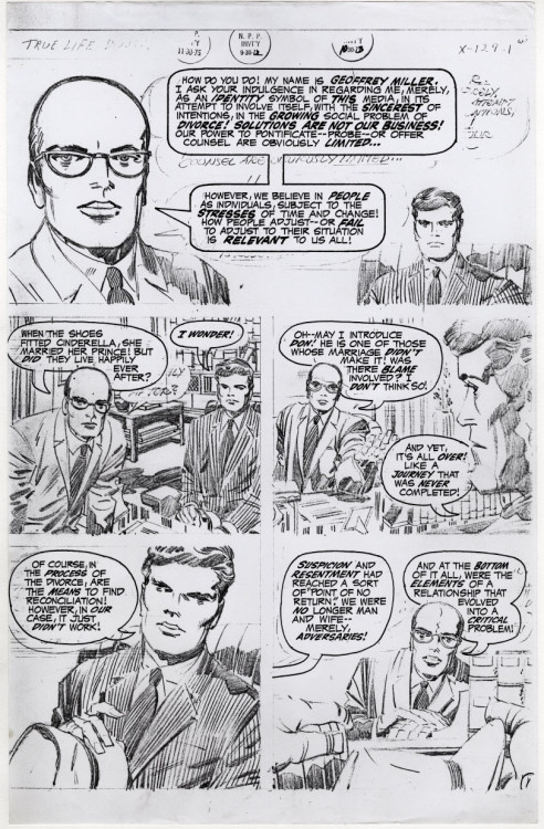 Jack Kirby's first page for the unpublished True Life Divorce - a full size photocopy of his pencil art with inked lettering.