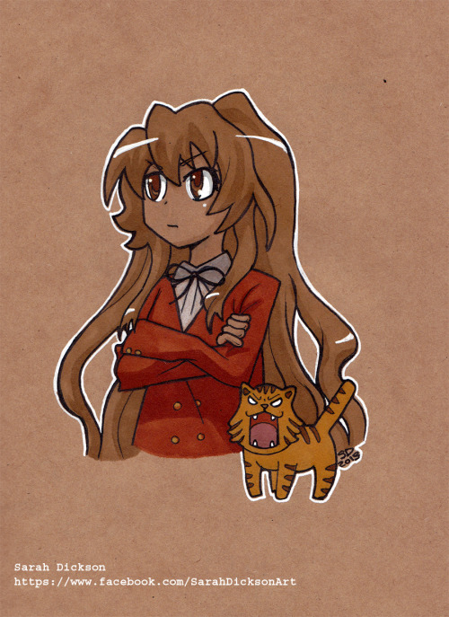 Aisaka Taiga from Toradora. Not an anime I've seen before but I enjoyed drawing the angry cat hehe.  https://www.facebook.com/SarahDicksonArt