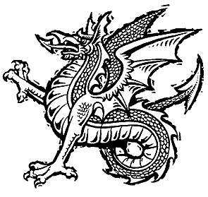 A typical heraldic wyvern.