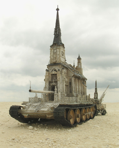 "roachpatrol:  letsbuildahome-fr:  ""Churchtanks"" by Kris Kuksi  Tags: #i am choosing to see these as being the size of the churches   #not the size of the tanks   #because if you don't want a story about huge armoured cathedrals going to war across the ruins of earth i don't know what to tell you   Okay but if we really really really want a story about huge armoured cathedrals going to war across the ruins of the earth will you tell us more though."