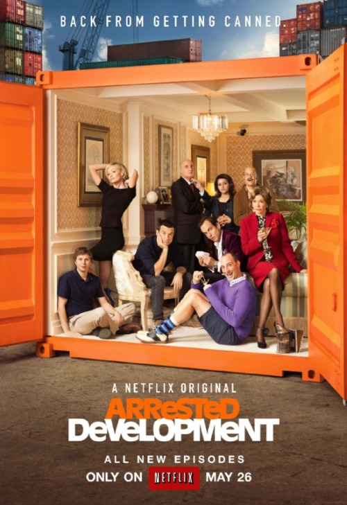 "popculturebrain:  Poster: 'Arrested Development' | Empire There are two other versions of this poster with tag lines that read, ""Look who's out of the box, again."" and ""Now the story of a family that couldn't be contained."""