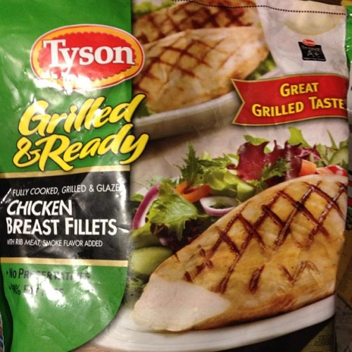 I wasn't sure about trying something pre-grilled and frozen, but these are great for salads. 1 breast = 3pts. #tyson #weightwatchers
