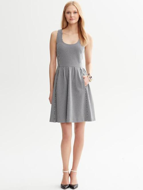 Striped Ponte Full Skirt Dress - $91, Banana Republic (code: BRSPRING30) I certainly own way too many striped dresses already, and don't need to buy this one for almost $100, but the ponte knit and the pockets are so appealing!