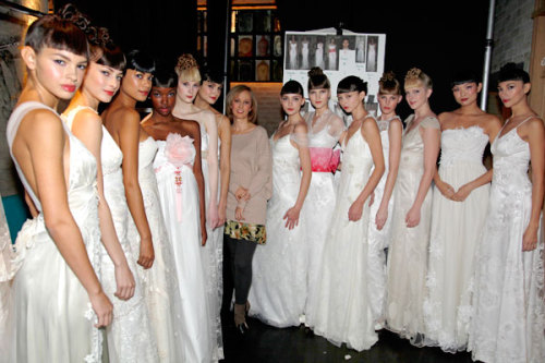 Throwback Thursday: Claire Pettibone and models backstage at Bridal Market 2009