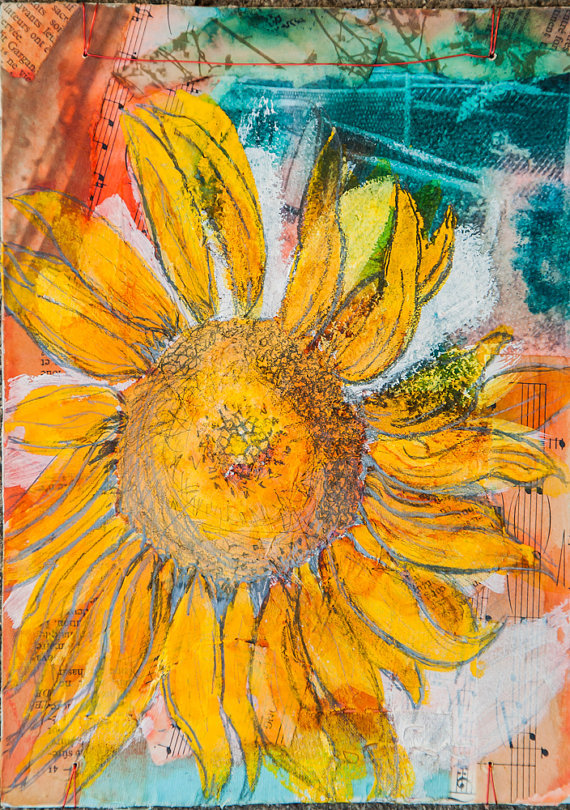 (via Mixed Media Flower Drawing Sunflower by BobbisMixedMediaArt)