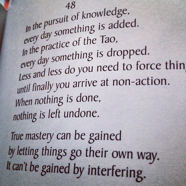 #laotzu #laozi #taoteching ch. 48. #Nothing is left #undone.