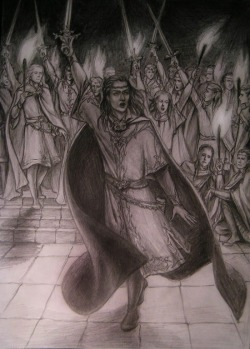 """The Oath of Fëanor"" by Ekaterina Kovalevskaya, featured in Silver Leaves issue #3."