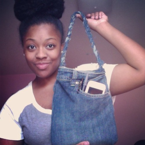 Turned an old pair of jeans into this bag. :) #crafty #diy #doityourself #natural #naturalhair www.kandeelovesya.com