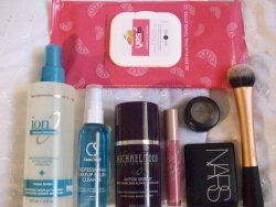 APRIL 2013 BEAUTY FAVES Wow this month just flew by..Here are my essentials for the month: Yes to Grapefruit Makeup Removing Wipes- lightened some of my hyperpigmentation <3 Ion Volume Solutions Thickening Spray- best volumizing spray EVER! Holds volume all day. Just blow dry and go. Better than mousse! Cinema Secrets Brush Cleaner- spot cleans; so convenient. Makes my brushes smell like vanilla sugar.  Michael Todd Organics Antiox Serum- Great night moisturizer. Helps to shrink my pores and lighten acne scars. Awesome multipurpose product. Skin Food lipgloss- Vita Tok in PK01- Moisturizing, pigmented, doesn't let my lips peel. I love the spring pink color. NARS blush in Orgasm- Perfect shade for spring; lasts all day on my oily skin. I like the slight golden sheen it has. Makes my cheeks look healthy if applied with a light hand (super pigmented). MAC eyeshadow in Sumptuous Olive- Green reminds me of spring.  Real Techniques Expert Face Brush-Best for liquid foundation. Blends like a dream. The price was PHENOMENAL. Every woman should own 1 (or 2).