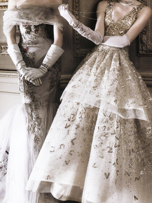 """The American Experience"" Carolina Herrera and Oscar De La Renta gowns photographed by David Sims for Vogue May 2010"