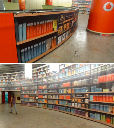"petemmartin:  (via Hybrid Library: QR Codes Access eBooks in Subway Station | WebUrbanist) A wall poster of QR codes to download ebooks, but it still has to look like a library/bookshop. Even having the same book/code printed ten times next to each other. One wonders what you have to sign up for to get the wifi required to download whilst in a subway station. Reminds me of my idea of a ""metrocurator""."