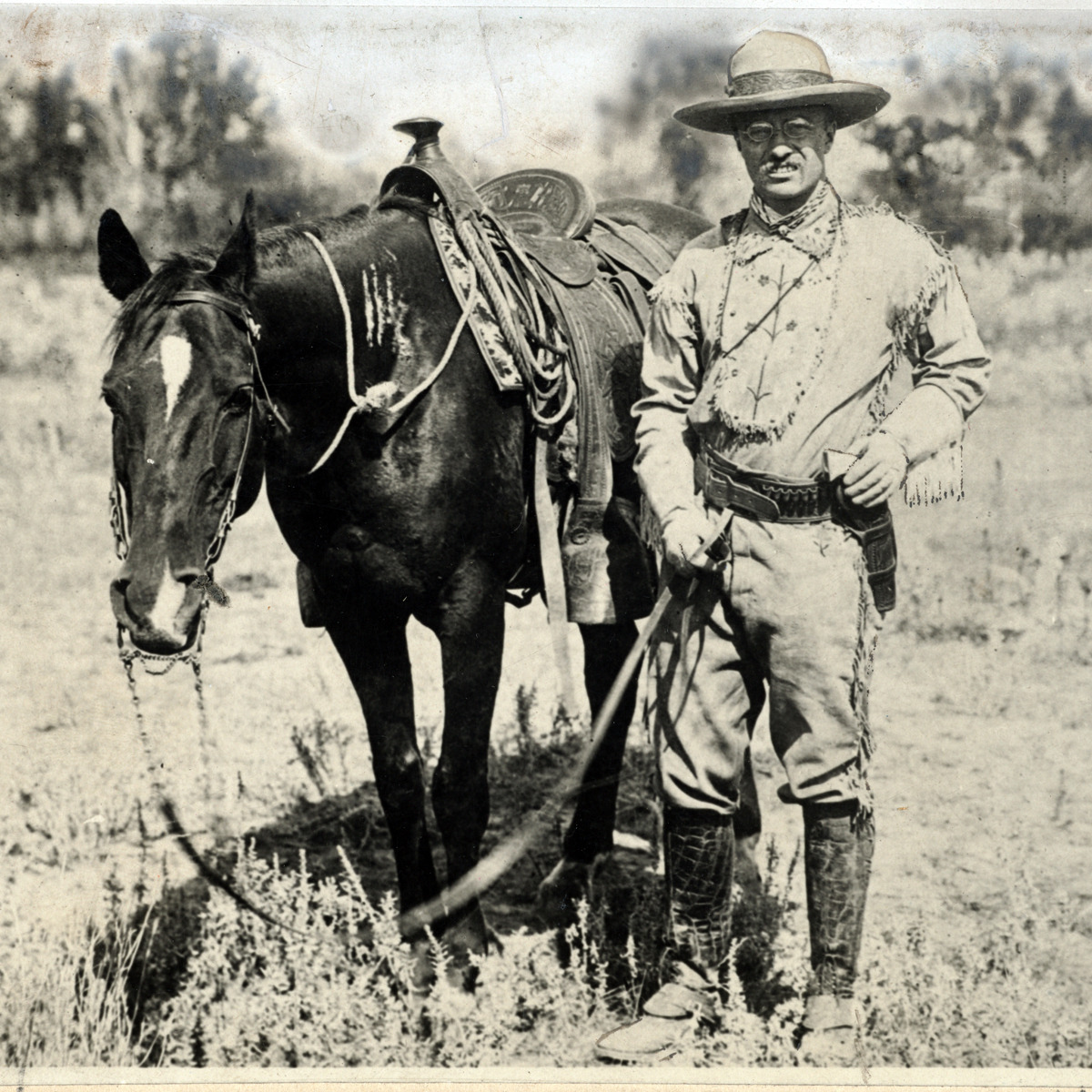 Theodore Roosevelt first traveled west in 1883 to pursue his boyhood dreams of frontier life. When he returned to New York in 1886, he began to lobby for conservation.