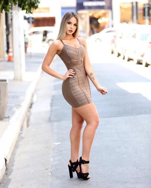 Leticia Longati bandage dress tan mini dress bodycon dress curves sexy legs long hair blonde high heels