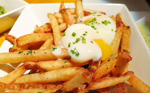 French Fries and runny eggs!  prettyboyfood:  Follow for more food!
