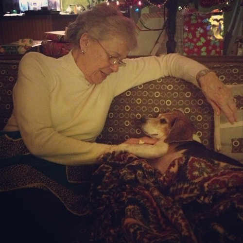 Basil and his great-grandma are really into each other right now.