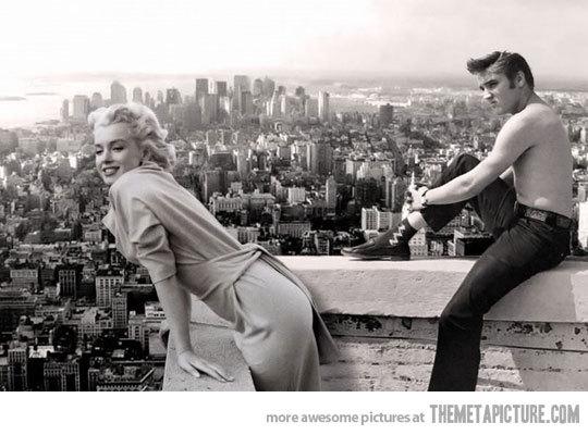 lol-coaster:  funny Marilyn Monroe Elvis Presley old photohttp://lolcoaster.org