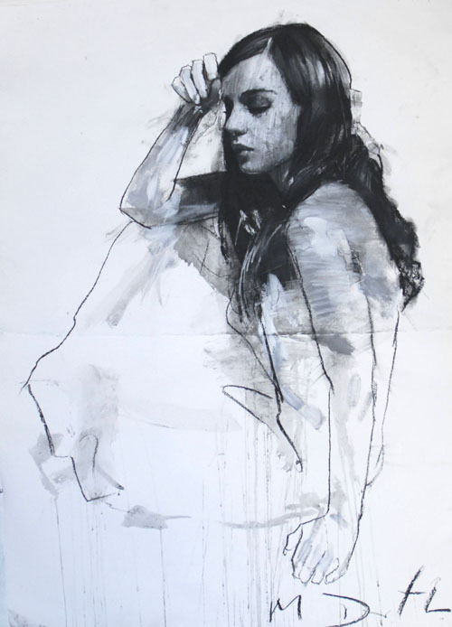 artisticmoods:  Natalie seated with one hand raised. By Mark Demsteader. Pastel & collage.
