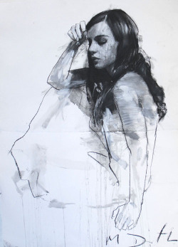 art—life:  Natalie seated with one hand raised.  By Mark Demsteader. Pastel & collage. Contemporary figurative artist. For more art visit Art—Life!