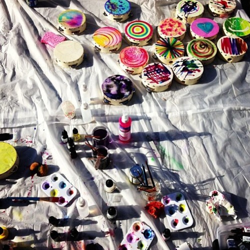 edwardsharpeandthemagneticzeros:  Getting a batch of new tambourines ready for tour!