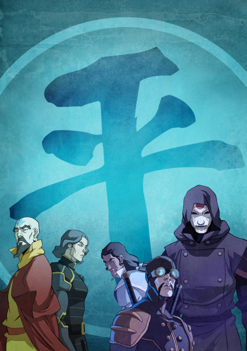bryankonietzko:  Here is the back cover art for the Book 1 DVD/Blu-ray coming out July 16th, 2013, or at least, this was how I intended it to look. Tenzin and Lin had to be moved elsewhere to make room for type and graphics. Drawn by Ryu Ki Hyun, colored be me.