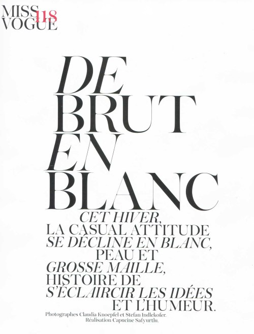 """De Brut en Blanc"" Vogue Paris, November 2011"
