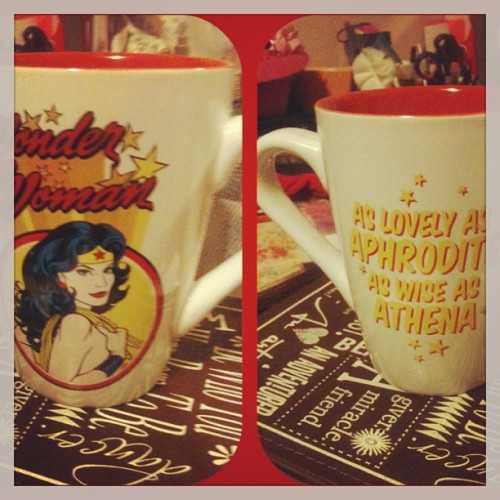 Finally!! My #wonderwoman cup(: I'm so excited #hotchocolate tonight yum!!