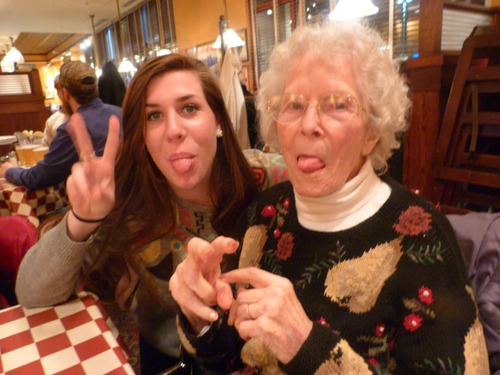 me and my Grannie. chuckin them duces.