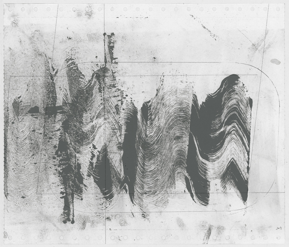 "From ""Wave Fractions"" (study n° x1) Monotype. oil, dust and pencil on paper 2012/13"