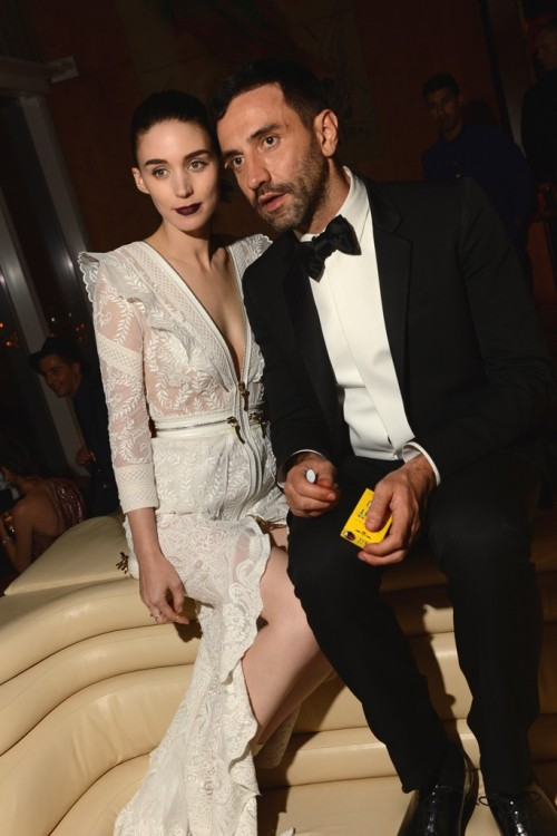 "womensweardaily:  Riccardo Tisci Reflects on His Night at The Met On Mara's ivory gown:   ""Rooney was fantastic. I have already worked with Rooney for three years and I know what she loves. She's like me. She really represents my style. She loves the romantic side of me, and she loves the hard side of me. For last night, I said, 'Rooney, we should really push more to be sexy, because you have the face and the body to be sexy,' and she said, 'You know what, we should go for it.' For More [above: Rooney Mara and Riccardo Tisci, both in Givenchy. Photo By Evan Falk ]"