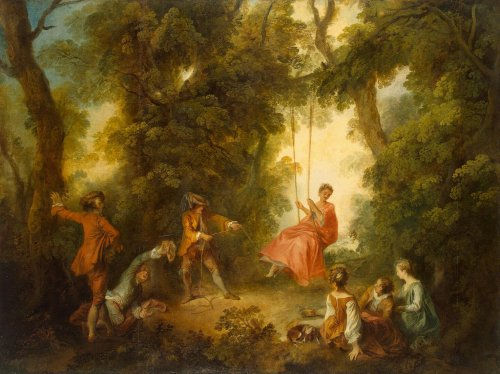 "a-l-ancien-regime:  Nicolas Lancret Swing Painting, Oil on canvas, 99x132 cm France, 1730s A follower and imitator of Antoine Watteau, Lancret mastered the outer manifestations of his style and took up the theme of ""fetes galantes"", which Watteau had introduced. He was one of a number of artists often described collectively as the School of Watteau."