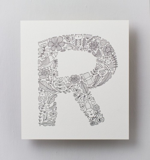 """R"" by Flora Chang in ""Creative Lettering"" http://www.larkcrafts.com/craft-your-life/the-art-of-hand-lettering-2/"