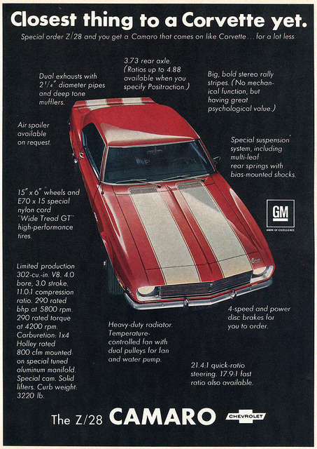 1968 Chevrolet Z28 Camaro Advertisement Hot Rod Magazine May...