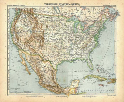1914 United States and Mexico Vintage Map, at CarambasVintage http://etsy.me/UCEBKe